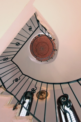 Spiral staircase to roof terrace